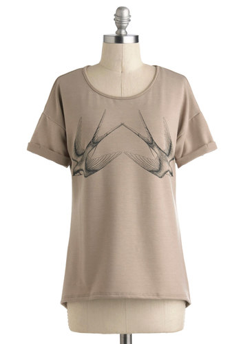 Two Turtle Doves Tee - Black, Casual, Short Sleeves, Mid-length, Tan, Print with Animals, Novelty Print, Travel