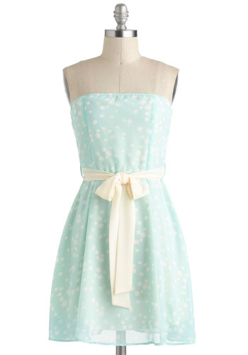 Doling Out the Charm Dress - Pastel, Short, Chiffon, Blue, White, Polka Dots, Belted, Daytime Party, A-line, Strapless, Mint