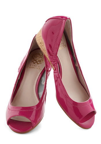 I Mean Fizz-ness Wedge in Cork - Pink, Solid, Neon, Wedge, Peep Toe, Mid, Leather, Variation