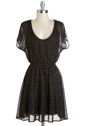 Rain or Shining Dress - Mid-length, Black, Gold, Buttons, Cutout, A-line, Short Sleeves, Print, Casual, Scoop