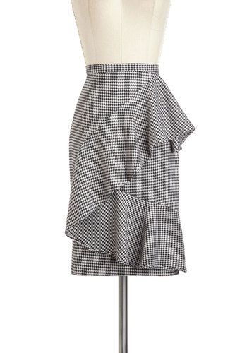 Nine to Thrive Skirt - Mid-length, Black, White, Houndstooth, Ruffles, Work, Pinup, Vintage Inspired, 50s, Pencil