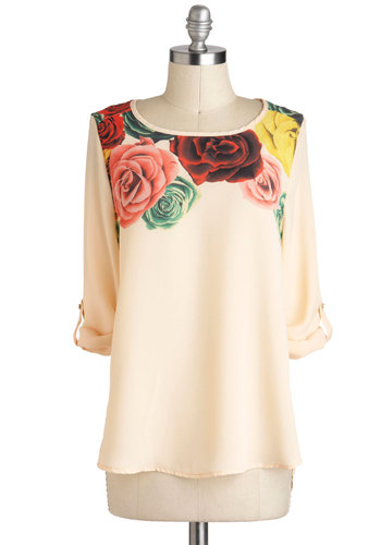 Modern Romantics Top - Mid-length, Sheer, Cream, Multi, Floral, Casual, Tab Sleeve