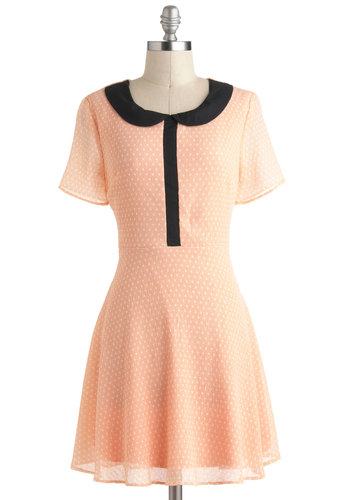 Peach Me By Phone Dress - Sheer, Mid-length, Black, White, Polka Dots, Peter Pan Collar, Casual, A-line, Short Sleeves, Collared, Orange