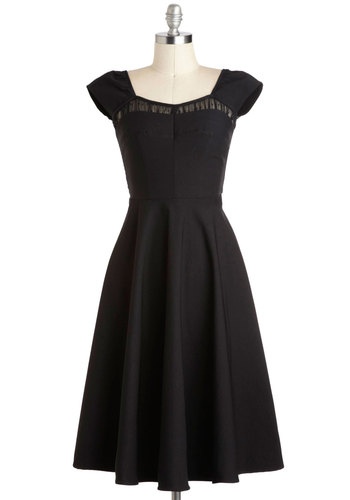 Masterful Monologue Dress by Stop Staring! - Black, Solid, Cocktail, Cap Sleeves, Party, Fit & Flare, LBD, Long