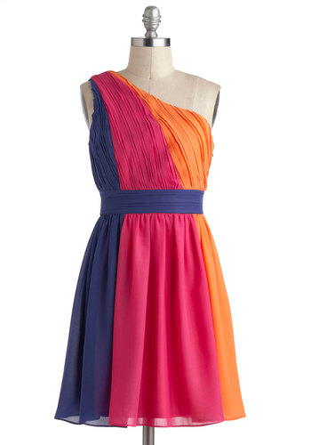 Color Me Glad Dress - Orange, Purple, Party, One Shoulder, Mid-length, Pink, A-line, Colorblocking, Prom