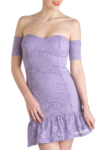 Lavender Lace Dress - Purple, Solid, Lace, Daytime Party, Pastel, Spring, Sheer, Short, Ruffles, Mini, Prom