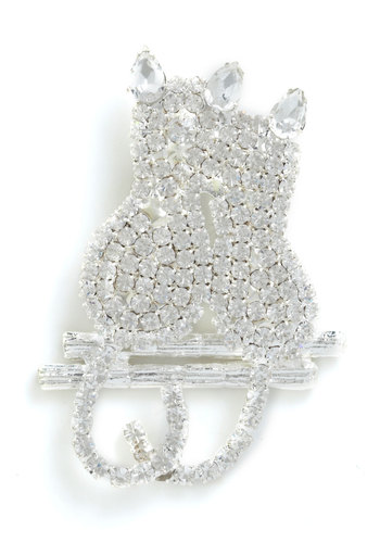 Feline Connected Pin - Silver, Print with Animals, Rhinestones, Party