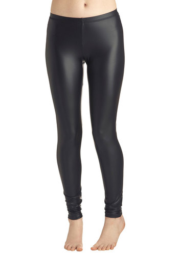Highlight of Your Chic Leggings - Black, Solid, Girls Night Out, Statement, Urban, Skinny, Faux Leather, Black, 80s, Fall