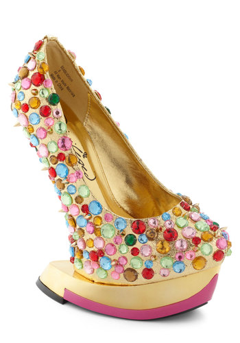 There's No I in Gleam Heel - Gold, Multi, Rhinestones, Party, Girls Night Out, Statement, High, Platform, Wedge, Special Occasion