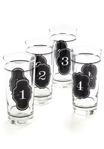 Count on Me Glass Set - Black, Vintage Inspired, Urban, Print