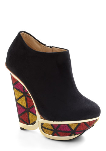 Hello Disco Bootie - Black, Multi, Print, Glitter, 60s, High, Platform, Wedge, Party, Girls Night Out, Leather, Statement