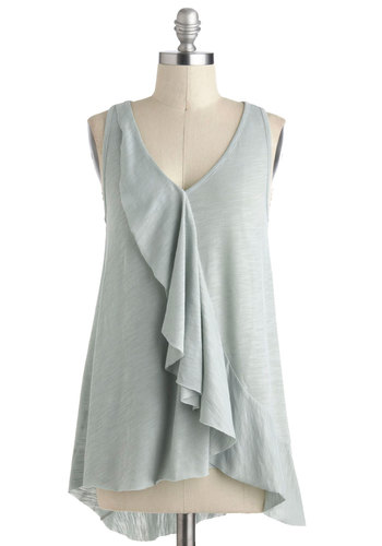 Independent Afternoon Top - Grey, Sleeveless, V Neck, Solid, Ruffles, Mid-length, Summer, Travel