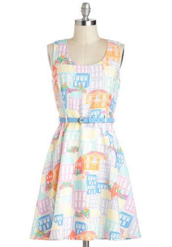 Together and Apartment Dress by Yumi - Multi, Novelty Print, Casual, Vintage Inspired, Sleeveless, Spring, Belted, Orange, Blue, Pink, A-line, Pastel, Mid-length