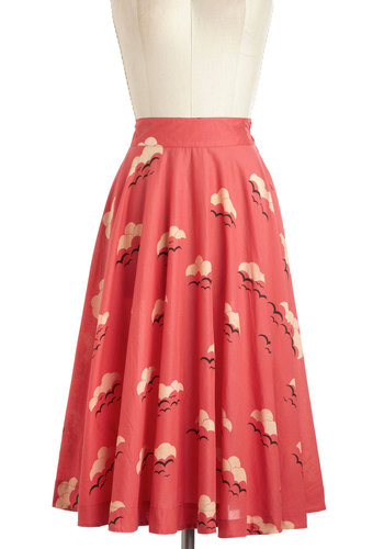 Twirling Through Town Skirt in Sunset by Emily and Fin - International Designer, Red, Tan / Cream, Black, Print, A-line, Work, Casual, Vintage Inspired, Cotton, Long