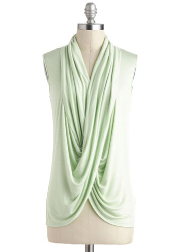 Pistachio Semifreddo Top - Green, Sleeveless, Solid, Casual, Minimal, Mint, Mid-length, Travel, Green, Sleeveless