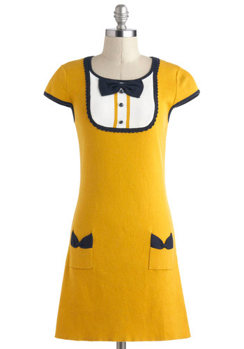 Overture the Moon Dress by Yumi - Yellow, Blue, White, Bows, Buttons, Pockets, Casual, Short Sleeves, Vintage Inspired, 60s, Mod, Menswear Inspired, Sheath / Shift, Cotton, Mid-length