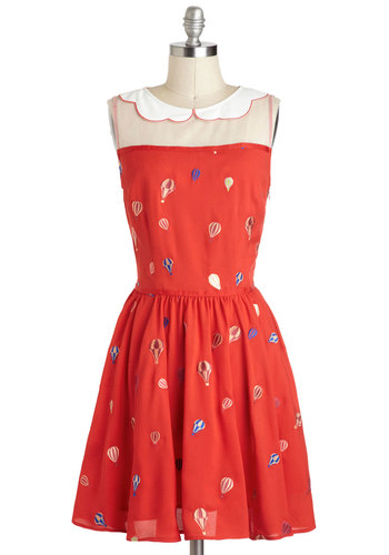 Float Couture Dress - International Designer, Red, Multi, Novelty Print, Embroidery, Peter Pan Collar, Scallops, Casual, A-line, Sleeveless, Collared, Vintage Inspired, Mid-length