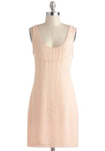 Falling Stars Dress in Daybreak - Mid-length, Pink, Solid, Beads, Pearls, Party, Sheath / Shift, Tank top (2 thick straps), 20s, Variation, Scoop, Formal, Vintage Inspired