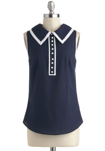 Come Back Swoon Top - Blue, White, Buttons, Rockabilly, Sleeveless, Collared, 50s, Mid-length, Solid, Nautical, Pinup