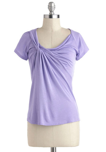 Knot Your Average Tee in Lavender - Purple, Solid, Ruching, Casual, Short Sleeves, Variation, Mid-length