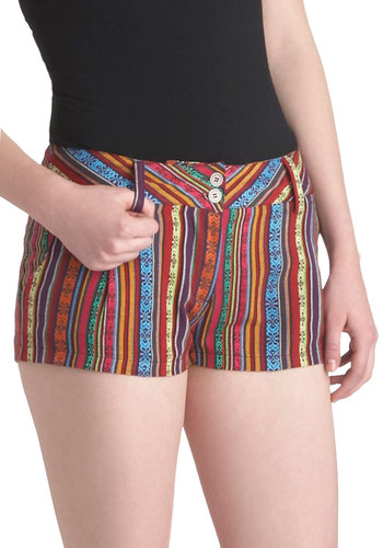 Grab a Hammock Shorts - Multi, Orange, Yellow, Green, Blue, Purple, Pink, Print, Beach/Resort, Short, Pockets, Summer