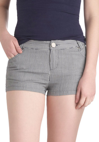Stripes My Fancy Shorts - Blue, White, Stripes, Short, Cotton, Pockets, Casual, Beach/Resort, Nautical, Summer