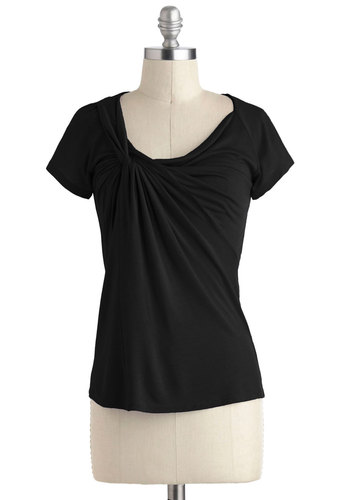 Knot Your Average Tee in Black - Black, Solid, Ruching, Casual, Short Sleeves, Variation, Scoop, Mid-length