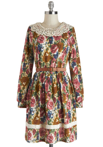 Lost in the Library Dress - Multi, Floral, Crochet, Belted, A-line, Long Sleeve, Fall, Mid-length, Casual