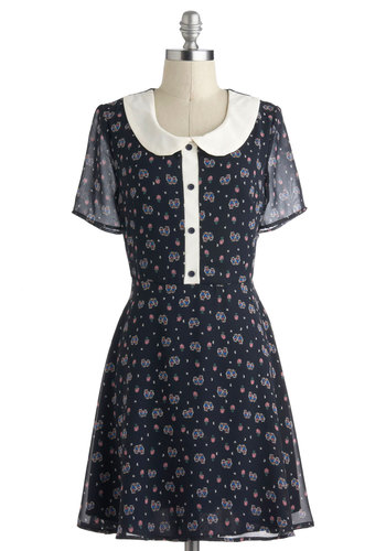 Hoot and Collar Dress - Print with Animals, Mid-length, Blue, Multi, Buttons, Peter Pan Collar, Casual, A-line, Short Sleeves, Collared, Owls, Halloween