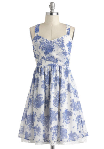 Georgette on My Mind Dress - Blue, Floral, Casual, A-line, Spring, Cotton, Mid-length, White, Eyelet, Tank top (2 thick straps), Graduation