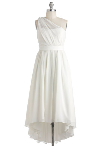 Beautiful and Unique Snowflake Dress - Long, White, Solid, Ruching, Special Occasion, Wedding, Cocktail, A-line, High-Low Hem, One Shoulder, Vintage Inspired, Luxe, Prom, Bride