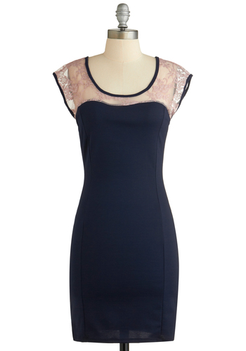 Dinner Guest of Honor Dress - Sheer, Mid-length, Blue, Lace, Pink, Party, Shift, Cap Sleeves, Exclusives, Scoop