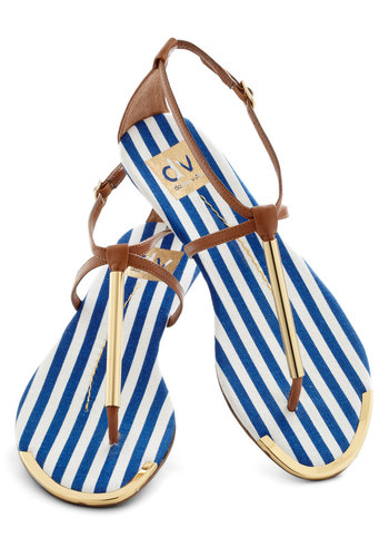 A Yacht to Talk About Sandal in Mast by Dolce Vita - Flat, Gold, Nautical, Brown, Summer