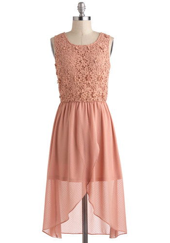 Back in the Subtle Dress - Pink, Solid, Lace, Fairytale, A-line, Sleeveless, Spring, Short, Party, Boho, Graduation