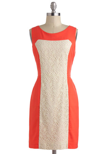 Prim and Posh Dress - Orange, Lace, Sleeveless, Mid-length, White, Colorblocking, Shift, Pockets, Daytime Party, 60s, Mod, Coral, Graduation, Work