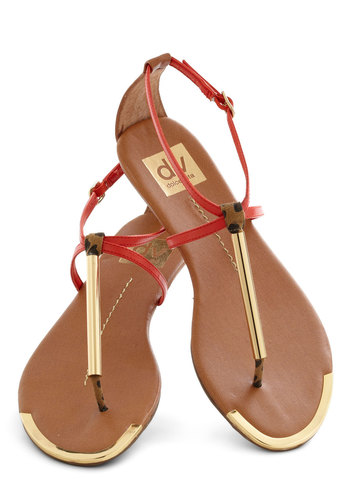 A Yacht to Talk About Sandal in Sunset by Dolce Vita - Flat, Gold, Casual, Beach/Resort, Orange