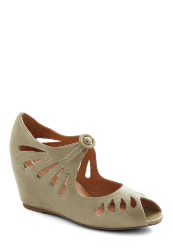 Cutout Cookie Wedge in Sage by Jeffrey Campbell - Green, Solid, Cutout, Mid, Peep Toe, Mint, Variation