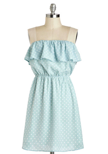 The Very Dot of You Dress - Blue, White, Polka Dots, Casual, A-line, Strapless, Spring, Mid-length, Ruffles, Pastel, Beach/Resort, Vintage Inspired, Mint