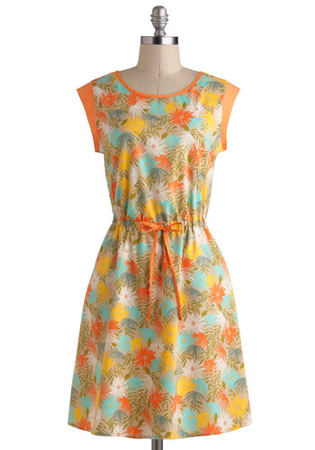 Ice Cream Sociable Dress by Tulle Clothing - Orange, Multi, Casual, A-line, Cap Sleeves, Mid-length, Floral, Pockets, Vintage Inspired
