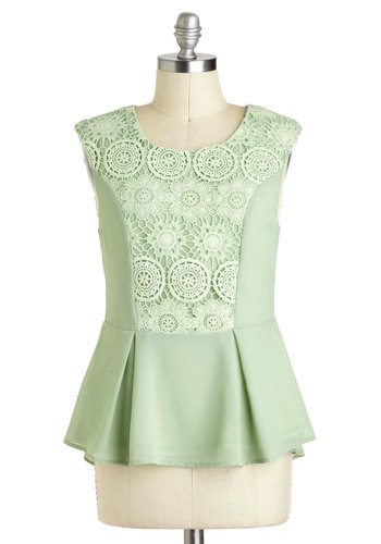 Pizzelle Party Top - Green, Solid, Lace, Daytime Party, Sleeveless, Mid-length, Exposed zipper, Mint