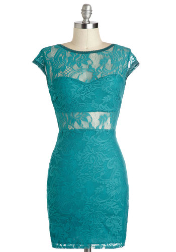 Teal There Was You Dress - Solid, Lace, Sheer, Mid-length, Green, Girls Night Out, Shift, Cap Sleeves, Exposed zipper, Prom