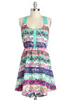 Garden Designer Dress - Multi, Floral, Buttons, Casual, Tank top (2 thick straps), A-line, Mid-length, Travel