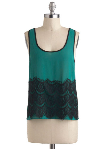 Strutting Green Top - Green, Black, Solid, Lace, Party, Girls Night Out, Tank top (2 thick straps), Sheer, Mid-length, Scoop