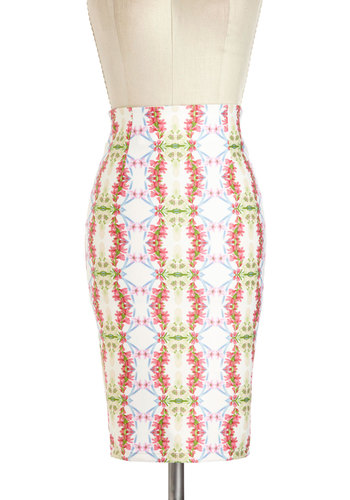 Lei It on the Line Skirt - Mid-length, Multi, Floral, Work, Daytime Party, Vintage Inspired
