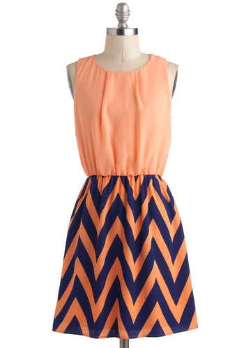 Ojai There Dress - Orange, Blue, Twofer, Sleeveless, Mid-length, Casual, Chevron, Spring, Summer