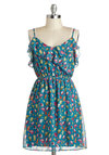 Hello, Pretty Bird Dress - Print with Animals, Chiffon, Mid-length, Blue, Multi, Ruffles, Casual, A-line, Spaghetti Straps