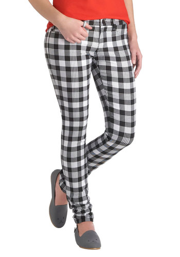 Cut to the Chess Pants - Multi, Black, White, Plaid, Casual, Skinny, Pockets, Vintage Inspired, 90s, Statement