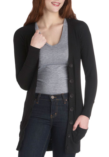 Layer it on the Line Cardigan in Black - Black, Solid, Knitted, Pockets, Casual, Minimal, Variation, Travel