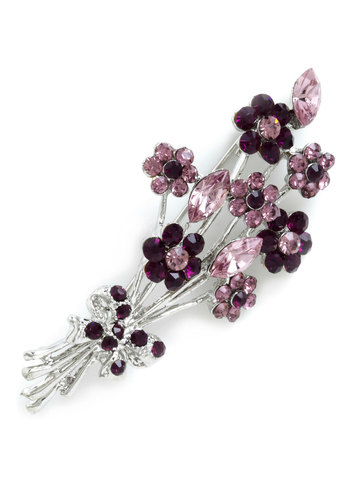 A Bouquet a Day Pin - Solid, Bows, Flower, Rhinestones, Party, Vintage Inspired, Silver, Purple