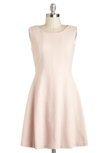 Riesling with Me Dress - Mid-length, Pink, Solid, Exposed zipper, Pastel, Sleeveless, Work, Daytime Party, A-line